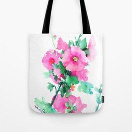 Hollyhock, Green pink design floral, Pink Flowers vintage floral design Tote Bag