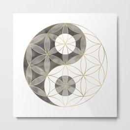 Flower of Life Yin Yang Metal Print