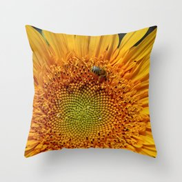 Bee and Dew on Sunflower Throw Pillow