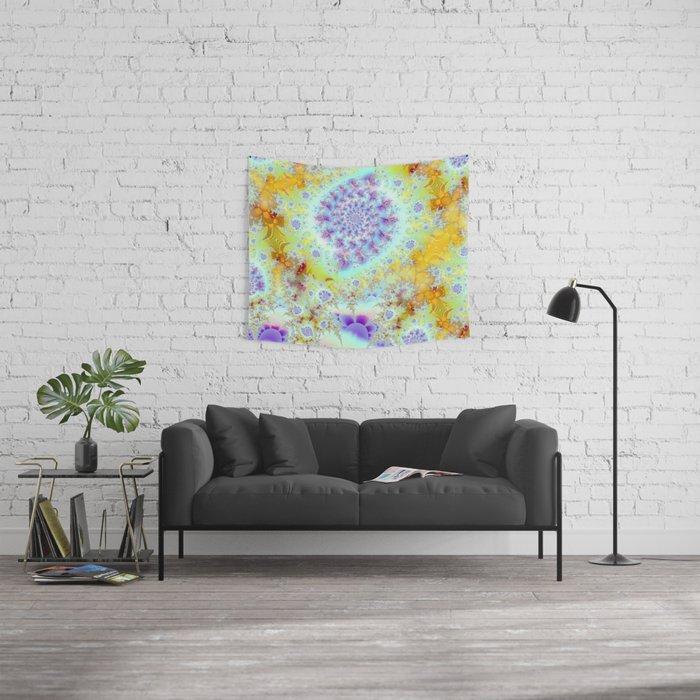 Golden Violet Sea Shells, Abstract Fractal Ocean Wall Tapestry