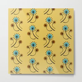 Mid Century Modern Dandelions on yellow Metal Print