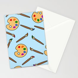Paintbrush and palette pattern Stationery Cards