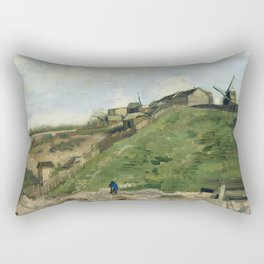 The Hill of Montmartre with Stone Quarry by Vincent van Gogh Rectangular Pillow