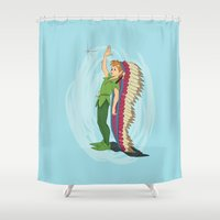 peter pan Shower Curtains featuring Peter Pan by LarissaKathryn
