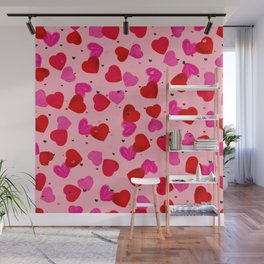 Valentine's Day background with hand drawn pink and red heart background Wall Mural