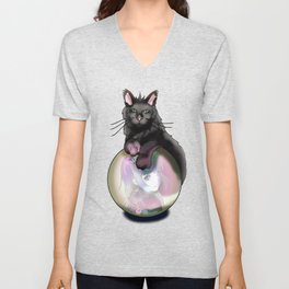 Black cat with a pink glow crystal ball Unisex V-Neck