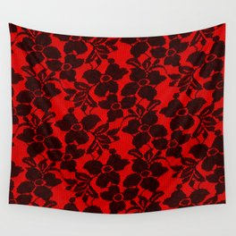 Black Lace on Red Wall Tapestry