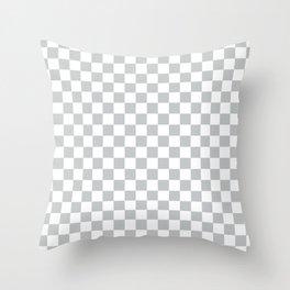 Light Grey Checkerboard Pattern Throw Pillow