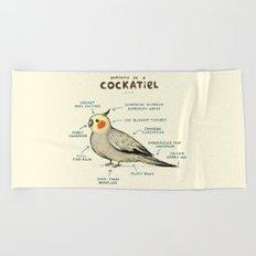 Anatomy of a Cockatiel Beach Towel