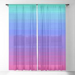 Mint, Blue, & Magenta Uneven Stripes Sheer Curtain