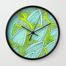 Sea of Leaves - Blue and Green Leaf pattern Wall Clock
