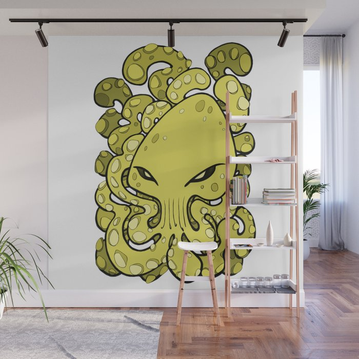 Octopus Squid Kraken Cthulhu Sea Creature , Meadow Lark Yellow Wall Mural  by bignoseart