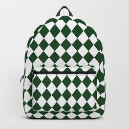 Hunter Green Modern Diamond Pattern Backpack