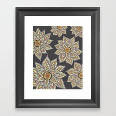 Floral Rhythm In The Dark Framed Art Print