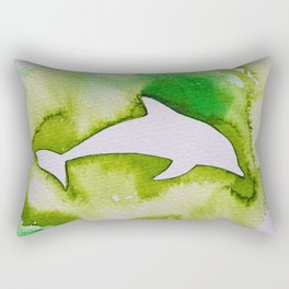 Dolphin in green Rectangular Pillow