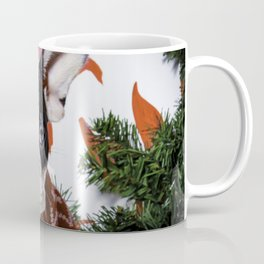 Black and White French Bulldog Puppy Poses in a Christmas Wreath Coffee Mug
