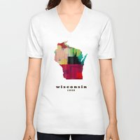 wisconsin V-neck T-shirts featuring Wisconsin state map modern by bri.buckley