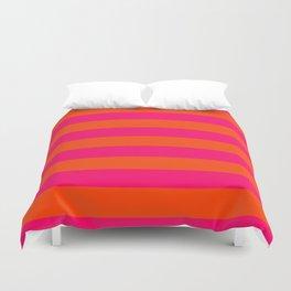 Bright Neon Pink and Orange Horizontal Cabana Tent Stripes Duvet Cover