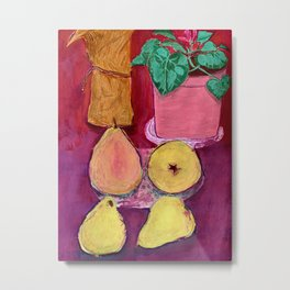 Pears on the table Metal Print