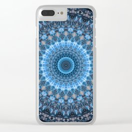 Digital mandala with light blue dominant. Clear iPhone Case