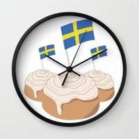swedish Wall Clocks featuring Swedish Buns  by Salina Sees London