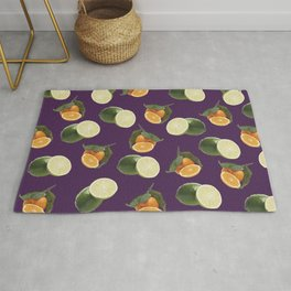 Lime and Clementine Fruits Pattern on Purple Background Rug