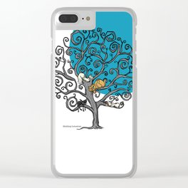 Cats under the blue moon Clear iPhone Case