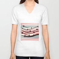 river V-neck T-shirts featuring River by Julia Tomova