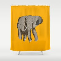 newspaper Shower Curtains featuring Newspaper Elephant by Doolin