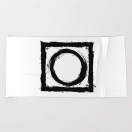 Black and white shapes splatter Beach Towel