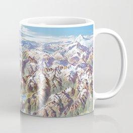Sky Panorama Map of North Cascade National Park Coffee Mug