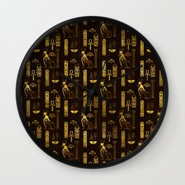 Egyptian Decorative Pattern gold on brown Wall Clock