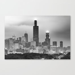 Downtown Chicago Skyline in Black and White Canvas Print