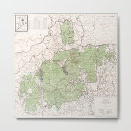 Vintage White Mountains National Forest Map (1863) Metal Print