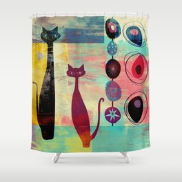 Mid-Century Modern 2 Cats - Graffiti Style Shower Curtain