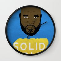 solid Wall Clocks featuring Solid Gold by Chase Kunz
