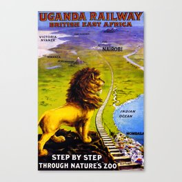 Uganda Railway Travel Poster Canvas Print