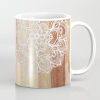 micklyn Mugs featuring White doodles on blonde wood - neutral / nude colors by micklyn