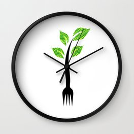 I am vegan- I am vegetarian- A fork with sprouts Wall Clock