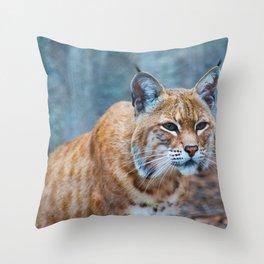 Still Bobcat Throw Pillow