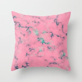 Cotton Candy Pink & Mint Marble Throw Pillow