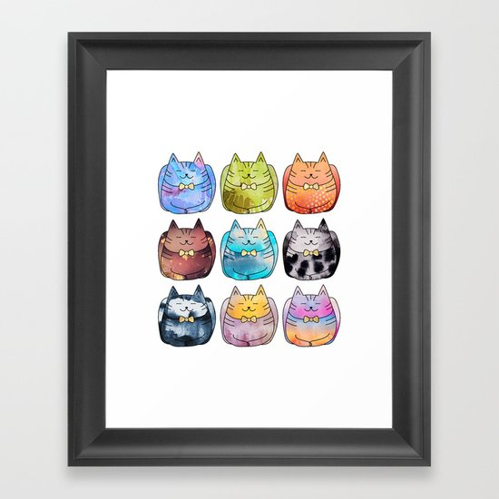 Colorful Cats Framed Art Print