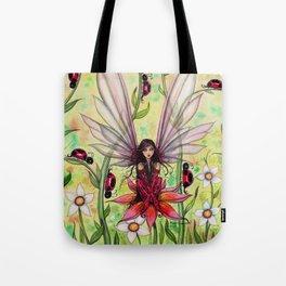 Ladybug Fairy Fantasy Art Illustration by Molly Harrison Tote Bag
