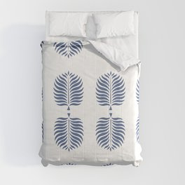 TROPICAL PALMS . WHITE + BLUE Comforters