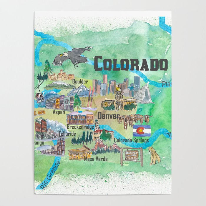 USA Colorado State Travel Poster Illustrated Art Map Poster by artshop77
