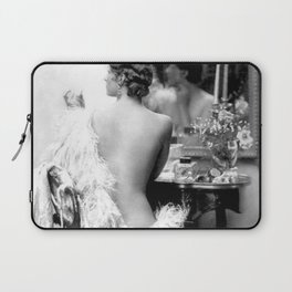 Ziegfeld Girl at her Dressing Table back stage, Paris black and white photograph Laptop Sleeve