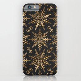 Black & Gold Festive Pattern iPhone Case