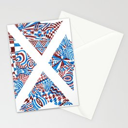Letter X, Blue/Red Abstract (Ink Drawing) Stationery Cards