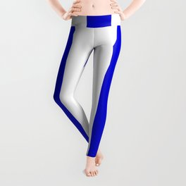 Medium blue - solid color - white vertical lines pattern Leggings