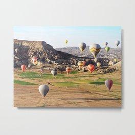 Hot air balloons flying over Cappadocia Metal Print